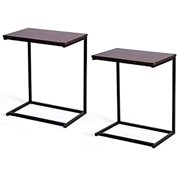 Tangkula Sofa Side End Table C Table Laptop Holder End Stand Desk Coffee Tray Side Table Notebook Tablet Beside Bed Sofa Portable Workstation
