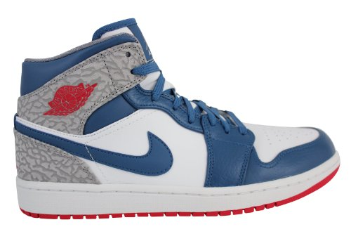 a708fe6b6d9e32 Galleon - NIKE AIR JORDAN 1 MID WHITE FIRE RED-TR BL-CMNT GRY 554724-107  (US 9.5   UK 8.5   27.5 CM)