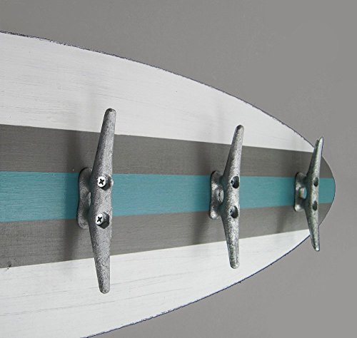 3 Ft. Surfboard Coat Rack with Cleats White, Gray and Turquoise