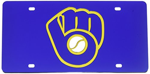 Rico Industries MLB Milwaukee Brewers Laser Cut License Plate, Blue (Brewers Car Milwaukee Mlb)