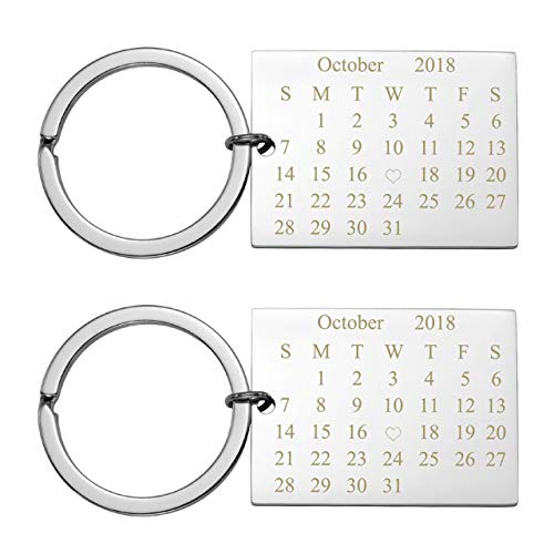 Personalized Master Free Engraving Custom Date Calendar Heart Keychain, Custom Date Pendant Key Ring Lovers Couples Valentine's Day Birthday Anniversary Christmas Special Day Gift