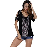 Litetao Women Elegant Tee Summer Bohemia Print Short Sleeve Top Blouse Lace up V-neck T-shirt