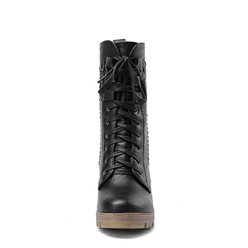 Black Blend Toe Solid Adornment Boots Bandage AmoonyFashion with Closed Materials Women's xIz6zA