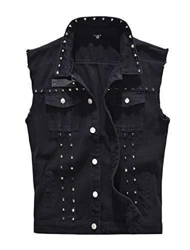 (INVACHI Men's Slim Fit Punk Denim Vest Sleeveless Jeans Vest Jacket with Rivets Black)