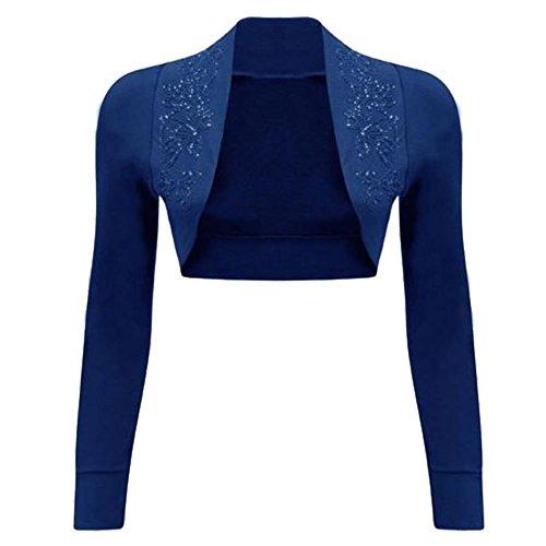 Janisramone - Bolero para mujer, lentejuelas, 100% algodón, manga larga, acanalado de punto con cuentas azul marino