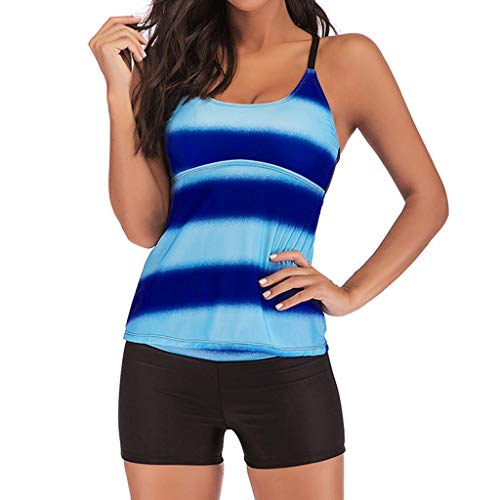 XINDEEK Women Plus Size Gradient Tankini Two Piece Swimwear Strip Swimsuit Strap Bathing Suit with Boyshort(Dark Blue, 4XL) -