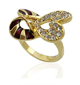 Golden Essentials 22K Gold Plated Two Hearts Ring with Cz Simulated Diamonds - Size US 8 [R22GP00158]