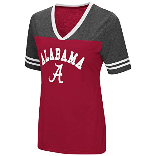 (Colosseum Women's NCAA Varsity Jersey V-Neck T-Shirt-Alabama Crimson)