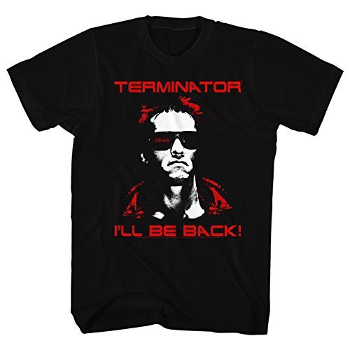 Terminator 1984 SciFi Action Movie Arnold I'll Be Back! Black Adult T-Shirt 3XT