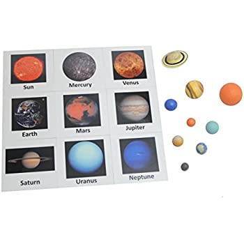 Solar System Match - Space and Planets Matching to Cards - Learning Toy Figurines. Nomenclature Science Work