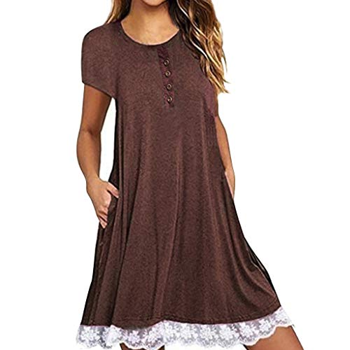 Women's Summer Casual Dresses Loose Short Sleeve Pocket Mini Dress Lace Swing Party T-Shirt Dress Size S-2XL (Brown, XXL)