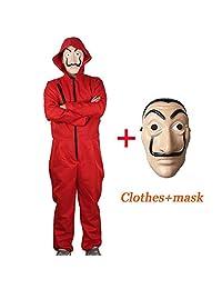 Unisex Dali Movie Costume for La Casa De Papel Red Overall Plus Mask