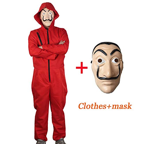 Unisex Dali Movie Costume Money Heist for La Casa De Papel Red Overall Plus ()