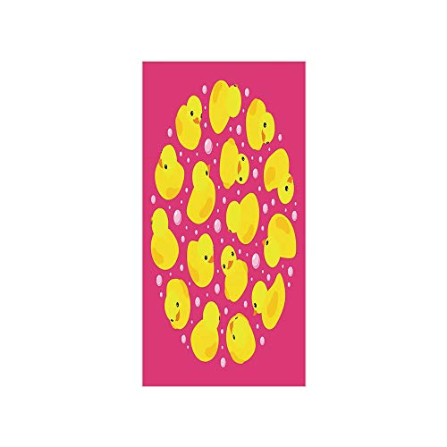 Pink Bath Ducky - 3D Decorative Film Privacy Window Film No Glue,Rubber Duck,Fun Baby Duckies Circle Artsy Pattern Kids Bath Toys Bubbles Animal Print,Pink and Yellow,for Home&Office