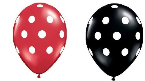25Ct Assorted Red and Black Balloons with White Polka Dots  -