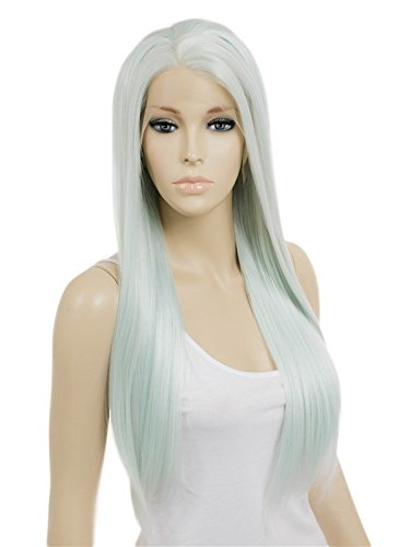 - SETPRETTYXG Long Straight Mint Green Color Heat Resistant Synthetic Handmade Wigs