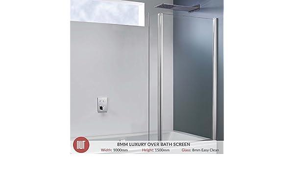 1000 mm (W) X 1500 Mm (H) con bisagras Offset doble pivote de baño cuadrado y cromado marco de fotos para pared (8 mm vidrio de seguridad templado): Amazon.es: Hogar