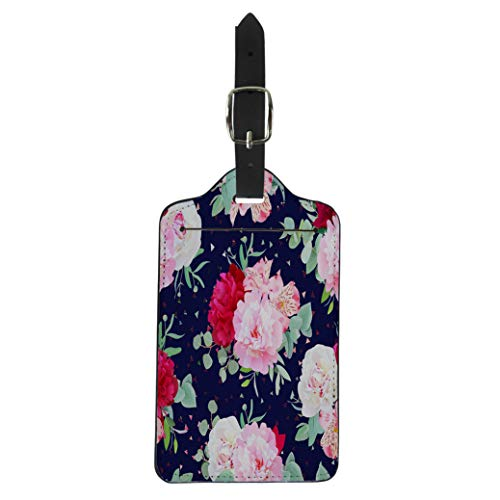 (Semtomn Luggage Tag Navy Floral Burgundy Red and Pink Peony Alstroemeria Lily Suitcase Baggage Label Travel Tag Labels)