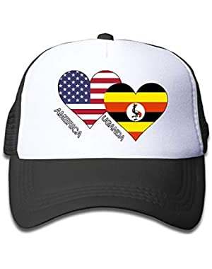 America Uganda Flag Heart On Boys and Girls Trucker Hat, Youth Toddler Mesh Hats Baseball Cap