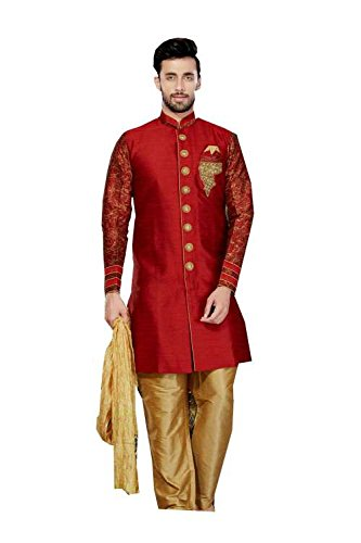 Mens Kurta Pajama Wedding Giccha Silk, Printed Marron India Party Wear Set by Jaipur Collections