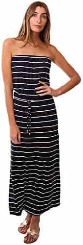 1f379bc963dc Veronica M Dresses Strapless Drawstring Waist White Striped Navy Maxi