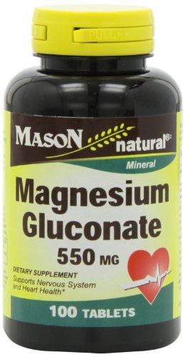 Mason Natural, Magnesium Gluconate 550 Mg Tablets, 100-Count Bottles (Pack of 3), Dietary Supplement Supports Muscle Regulation, Nerve Function, Blood Pressure, Bone Formation, and Heart Health - Mason Natural Magnesium