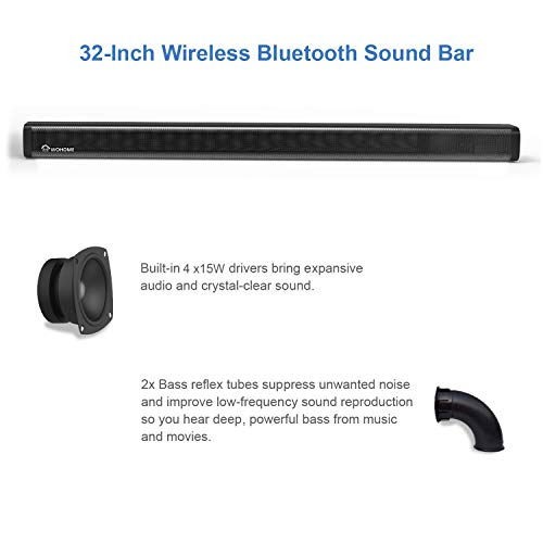 2.1 Channel Bluetooth Sound Bar Wohome TV Soundbar with Subwoofer 120W 32Inch 95dB 4 Drivers Remote Control 2019 Updated Model S18 by WOHOME (Image #2)
