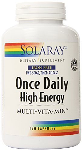 Solaray Once Daily Iron Free Two Stage Timed Release Vitamin Capsules, 120 Count