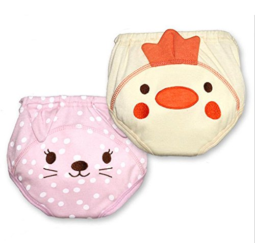 Fairy Baby 2 Pack Waterproof Cartoon Training Pants Baby Cloth Diaper(Cat & Chick,Size (Cartoons For Babies Online)