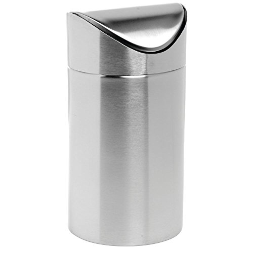 - Countertop Trash Can with Swing Top Stainless Steel - 4 5/8