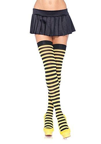 Leg Avenue Women's Nylon Striped Stockings, Black/Yellow, One Size (Stripper Costumes)
