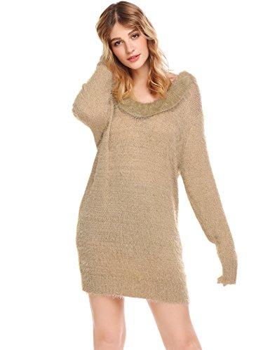 ... Damen Pullover Lang Winter Strickkleid Langarm Pulloverkleid Stretch  Winterkleider Oberteile Beige I9X94 ... 9ac2c49e0e