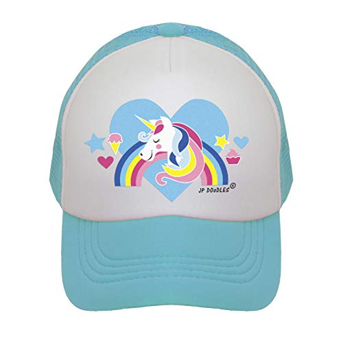 JP DOoDLES Unicorn on Kids Trucker Hat. The Kids Baseball Cap is Available in Baby, Toddler, and Youth Sizes.... (Teal, Kiddo (2-5 YRS))