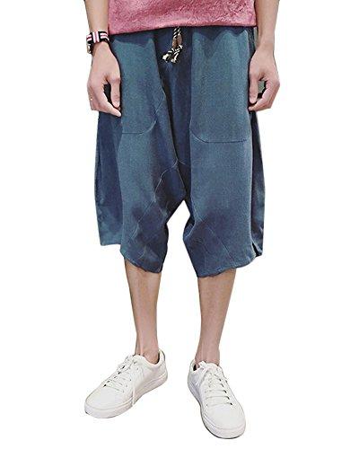 Bleu Cuffed Hippies Clair Lin Homme Pantalon Baggy YwP5xqwTC