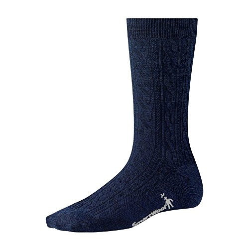 Smartwool Women's Cable II Sock,Deep Navy Heather,US M (Cable Socks Smartwool Womens)