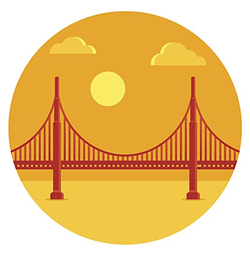 Gates Sunset (San Francisco Bay Golden Gate Bridge Icon Vinyl Decal Sticker (4