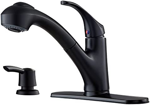 Pfister FWKP701B Shelton 1-Handle Pull-Out Kitchen Faucet with Soap Dispenser, Matte Black