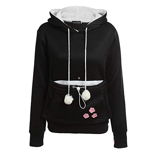Cat Lovers Hoodies with Cuddle Pouch Dog Pet Hoodies for Casual Kangaroo Pullovers with Ears Sweatshirt XL Drop Shipping Black