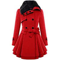 BSGSH Womens Lapel Double Breasted Swing Belted Pea Coat Overcoat Long Jacket