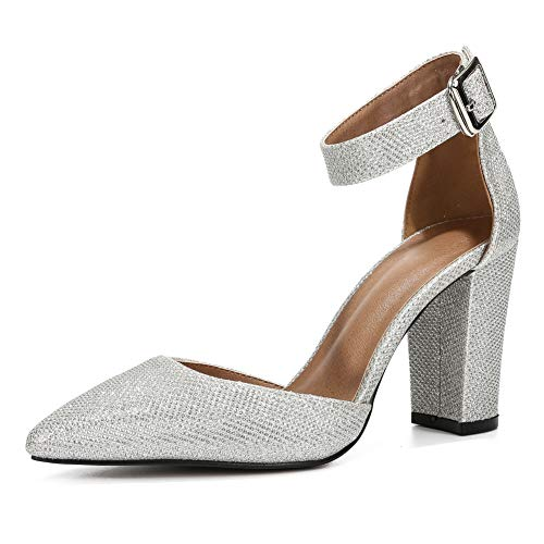 - Women's Elegant D'Orsay Ankle Strap Pointed Toe Pumps Block Chunky High Heel Shoes Silver Sequins-40(250/US9)