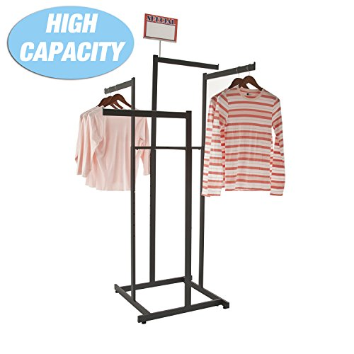 Clothing Rack – Black 4 Way Rack, High Capacity, Blade Arms, Square Tubing, Perfect for Clothing Store Display With 4 Straight Arms -