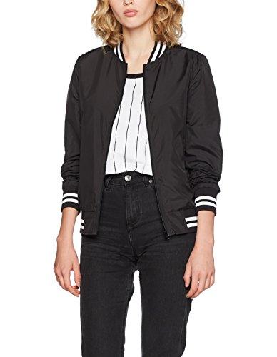 Ladies Black College Classics Veste Jacket Femme Nylon noir Urban 5PUWz68t8