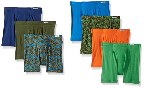 Fruit of the Loom Big Boys' Boxer Brief, Exposed and Covered Waistband, Assorted Color Prints and Solids with Fabric Covered Waistband, Large by Fruit of the Loom