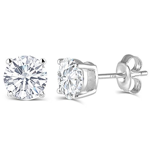 2CTW 6.5MM Moissanite Simulated Diamond Stud Earrings, Platinum Plated Silver Push Back HI Color White