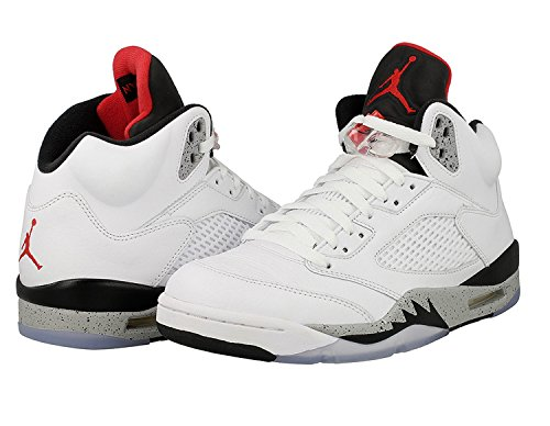 Air Jordan 5 Retro White Cement casual lifestyle shoes white/university red-black NEW 136027-104 - - Jordans Mens New