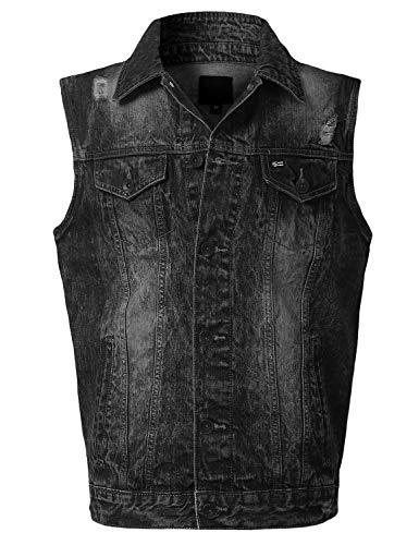 URBANCREWS Mens Hipster Hip Hop Washed Denim Vest Jacket Black XLarge