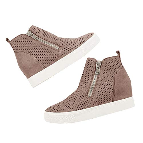 Ankle Booties 3 Platform Hidden Women's Wedges Side taupe Zipper Faux Suede Sneakers Perforated q1RwzRAFSc