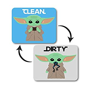 Baby Yoda Decal Dishwasher Magnet Clean Dirty Indicator, Star Wars Mandalorian Inspired Double Sided Kitchen Dish Sign, Strong Universal Flip Magnet with Bonus Magnetic Plate