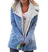 GOSOPIN Women Lapel Sherpa Fleece Lined Denim Jacket Warm Overcoat Outerwear
