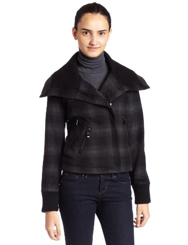 (ABS By Allen Schwartz Womens Cropped Plaid Jacket, Charcoal Plaid, Medium)